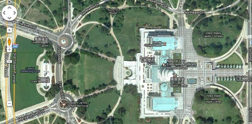 谷歌地图实景_美国白宫卫星地图